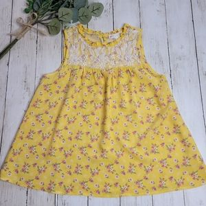 Love glam girl GIRLS Yellow Floral Sleeveless Top
